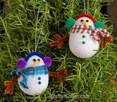 Cute! DIY Easy Snowman Ornaments on CraftsnCoffee.com. #DIY #handmade #snowman #ornament #easy #cute #kidscraft #Christmas #adultcraft #Styrofoam