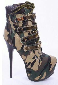 I'm an Army Mom so I totally need these shoes! Camo Heels, High Heels Boots, Thigh High Boots, Pumps Heels, Heeled Boots, Bootie Boots, Shoe Boots, Bootie Heels, Fancy Shoes