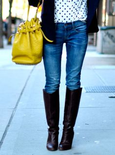 Polka dots and brights...and tall boots....yes, please!