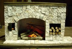 Doll Stone Fireplace | Miniature Stone Fireplace with Very Realistic Flickering Fire, Logs a ...