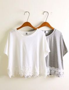 Summer tees with lace on the bottom
