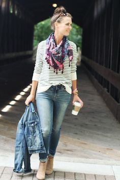 Fanci Taste double denim with jacket and skinny jeans, nautical 3/4 sleeved top, colorful tassle boho scarf. More ideas for your Fall Fashion Look! Don't forget to carry around a Starbucks cup!