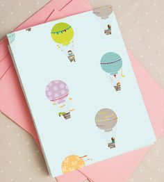 Free printable hot air balloon card
