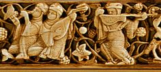 Two different kind of lutes shown in this 11th-12th centuries, Fatimid Ivory carving.