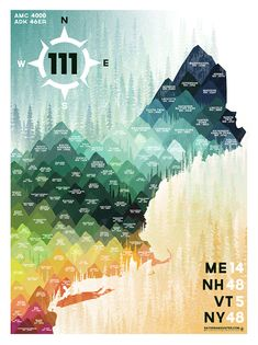 Northeast 111 by DaydreamHunter on Etsy | Northeast 111 Print - New England 4000 Footers - Adirondack 46 - Catskills - Mountain Hiking Graphic - High Peaks Poster - Wall Art Decor #daydreamhunter