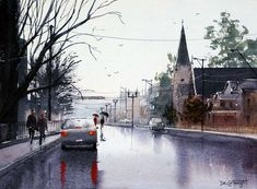 Peinture de rue humide avec des reflets - peinture à l'aquarelle