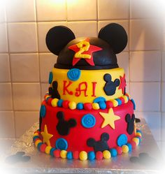 Mickey mouse 2 tier Birthday cake