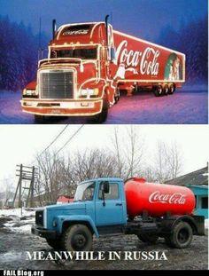 Meanwhile in Russia Coca Cola Ad, Always Coca Cola, Pepsi, Coke Ad, Big Rig Trucks, Cool Trucks, Meanwhile In Russia, Classic Trucks, Old Cars
