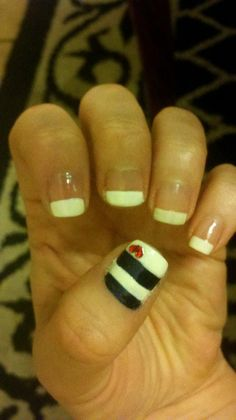 Navy Blue & White Stripe Nails With Red Rhinestone Heart