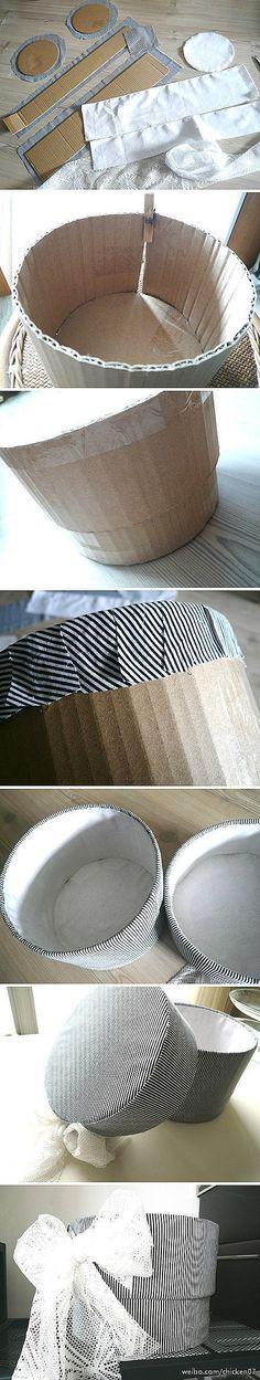 boite carton, diy / Caja redonda decorada