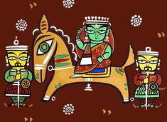 Queen on Horse - Photo Print of Jamini Roy Painting (Photographic Print - Unframed) Indian Artwork, Indian Folk Art, Indian Artist, Pichwai Paintings, Indian Paintings, Madhubani Art, Madhubani Painting, Jamini Roy, Indian Traditional Paintings