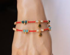Brown and Red Afghan Bead Ethnic Bracelet with por monroejewelry