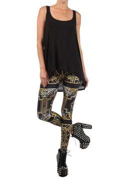 Great Gatsby Leggings Black Gold | POPRAGEOUS