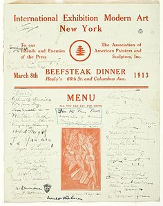 Citation: Armory Show dinner menu signed by guests, 1913 Mar. 8 . Walt Kuhn, Kuhn family papers, and Armory Show records, Archives of American Art, Smithsonian Institution.