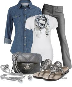"""Denim Shirt"" by christa72 on Polyvore, be good for church wear with the white shirt"