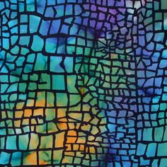 Stained-Glass Turquoise Cotton Batik Fabric. $12.75, via Etsy.
