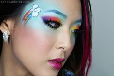 """From Head To Toe: My Little Ponies """"Rainbow Dash"""" Makeup Tutorial http://www.frmheadtotoe.com/2012/10/my-little-ponies-rainbow-dash-makeup.html"""