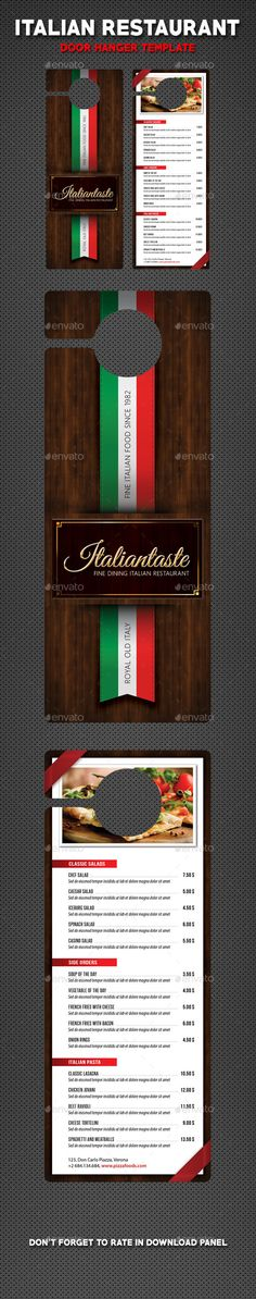 Italian Restaurant Menu Door Hanger