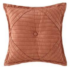 Desert Ridge Pleated Square Throw Pillow in Terracotta - BedBathandBeyond.com