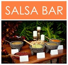 Love the idea of a salsa bar for a Mexican fiesta party. Check out this site for some great salsa recipes too. party-food-we-love Fingers Food, Salsa Bar, Decoration Photo, Mexican Fiesta Party, Cuban Party, Fiestas Party, Wedding Reception Food, Wedding Ideas, Chips And Salsa