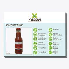 Die Postkarte gibt einen Überblick über die Vorzüge des Xylosan Xylit Ketchup.  - Format: A6 - 10 Stück Ketchup, Glycerin, Vegan, Hot Sauce Bottles, Food, Chewing Gum, No Sugar, Gluten Free, Packaging