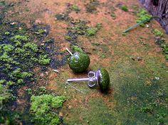 Green dot ceramic earrings