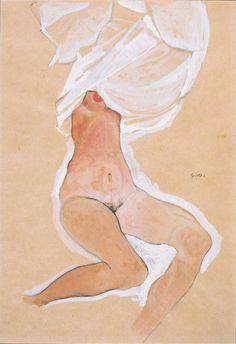 Egon Schiele - menina nua sentada com sua camisa sobre a cabeça (1910)