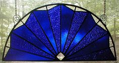 Cobalt Blue Stained Glass Fan