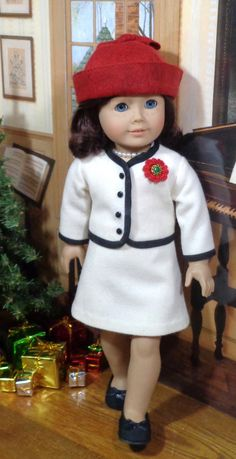 Winter White Wool Suit, Hat & Slip Style by SugarloafDollClothes on Etsy Sewing Doll Clothes, American Doll Clothes, Sewing Dolls, Girl Doll Clothes, Doll Clothes Patterns, Clothing Patterns, Girl Dolls, Doll Patterns, American Girl