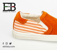 Fun is orange with this #slipon! Check out on www.ebitaly.com. #ebshoes #kids #shoes #madeinitaly
