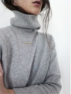 soft turtleneck / simple necklace