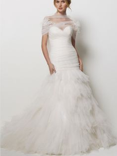 Tulle Strapless Gorgeous Wedding Dress with Tiered Ruffled Dress