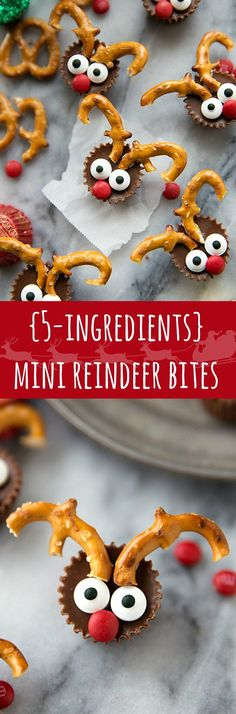 The easiest Christmas treat: 5-ingredient miniature reindeer candies. Greatfor a holiday gathering/entertaining!