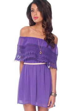 Off Shoulder Dress in Purple