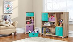 Color and coordination for kids' rooms! Pastel-colored bins within spacious storage units create an environment more conducive to picking up after playtime.  #shopko
