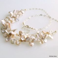 Bib Necklace White Keishi Petals and Sterling Silver