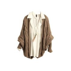 No Fastening Khaki Thickened Cardigan [NCSWB0160] - $46.99 : (155 BRL) ❤ liked on Polyvore featuring tops, cardigans, sweaters, outerwear, brown cardigan, cardigan top and brown tops