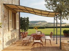 Long-term solution for sunshade, beautiful wooden structure and stone patio ideas