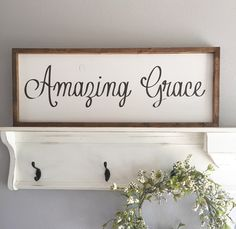 Large Wood Sign - Amazing Grace - Subway Sign - Farmhouse Sign - Framed Sign - Shabby Chic - Home Decor - Inspirational Sign Shabby Chic Living Room, Shabby Chic Kitchen, Shabby Chic Homes, Shabby Chic Style, Shabby Chic Decor, Naples, Wood Signs For Home, Foyer Decorating, Decorating Ideas