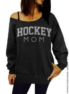 "Use coupon code ""pinterest"" Hockey Mom - Black with Silver Slouchy Oversized Sweatshirt by DentzDesign"