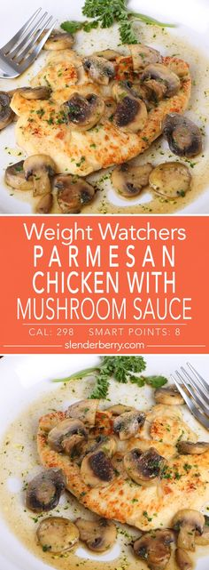 Weight Watchers Parmesan Chicken with Mushroom Sauce Dinner Recipe with flour parmesan cheese onion garlic mushrooms basil and white wine. Filling Low Calorie Meals, Low Calorie Chicken Recipes, Healthy Low Calorie Meals, Low Calorie Dinners, Chicken Parmesan Recipes, No Calorie Foods, Parmesan Sauce, Weight Watchers Chicken Parmesan Recipe, Low Calorie Dinner For Two