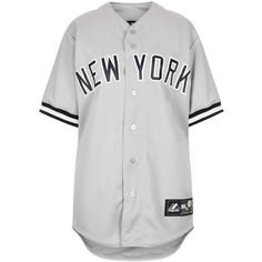 TOPSHOP NY On Field Jersey by Majestic ($50) ❤ liked on Polyvore featuring tops, shirts, dresses, t-shirts, grey, jersey shirts, jersey knit tops, baseball jersey top, gray shirt and baseball top