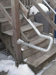 Retrofit ADA Accessiblity - Outfitting Wooden Decks with Metal Handrail Pipe Railing, Metal Handrails, Deck Railings, Stair Railing, Stairs, Glow Stones, Pvc Tube, Building Concept, Metal Pipe