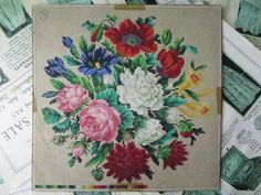 Antique Hand Painted Berlin Woolwork Embroidery Chart- Floral Bouquet | eBay