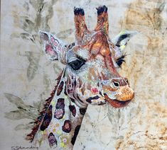 Giraffe textile embroidered art. Sophie Standing Art