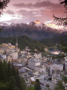 Skyline of St. Moritz, Graubunden, Switzerland