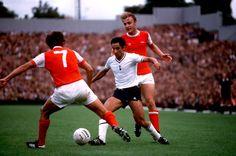 Arsenal V Spurs, Highbury, John Hollins and David Price v Osvaldo Ardiles, circa 1980.