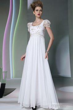 Graceful Scoop Cap Sleeve Beading Floor-Length Evening Dress : Tbdress.com
