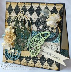 Beautiful Imaginarium Designs chipboard on this stunning Olde Curiosity Shoppe card by @Gloria Stengel #graphic45 #cards