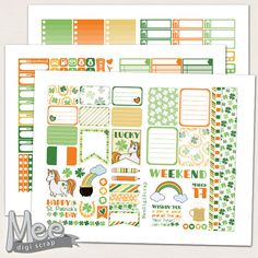EClp size weekly kit printable,St. Patrick's day planner stickers,March planner stickers,printable planner stickers,Unicorn stickers,Irish by MeeDigiScrap on Etsy